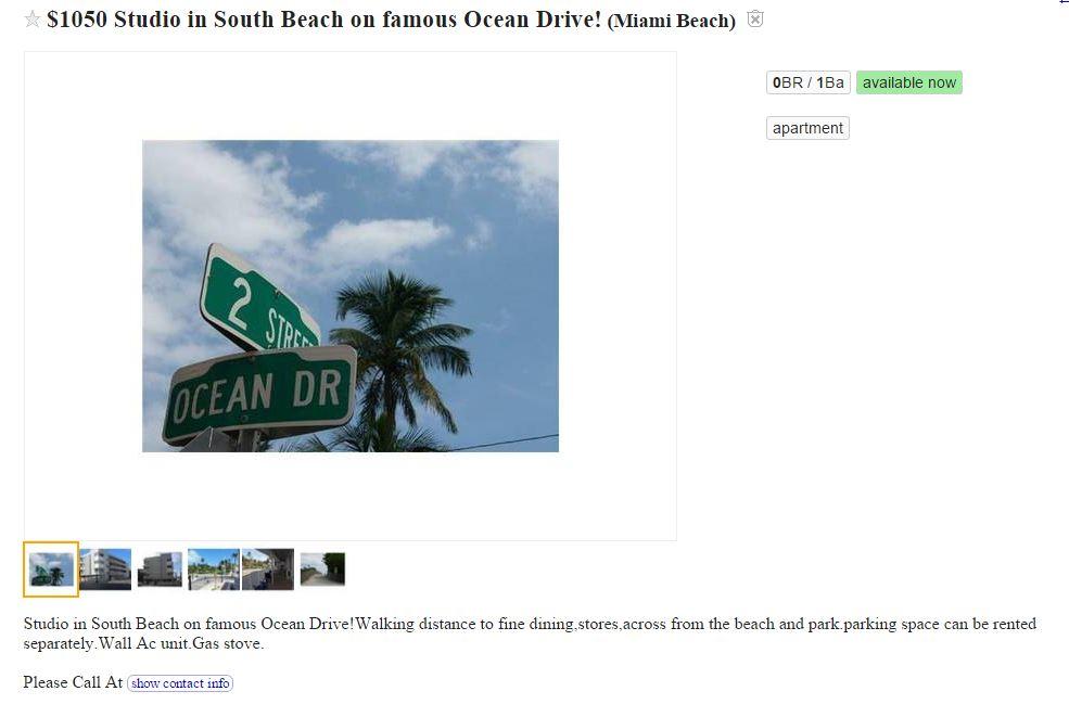 Craigslist South Beach Miami Apartments